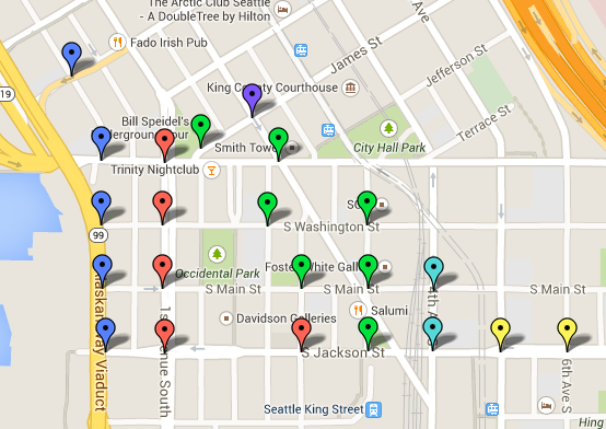 Seattle Map 4 – Downtown Catacombs | GeologyWriter.com