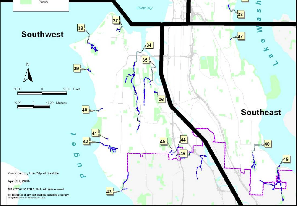 Southwest and Southeast Seattle Streams