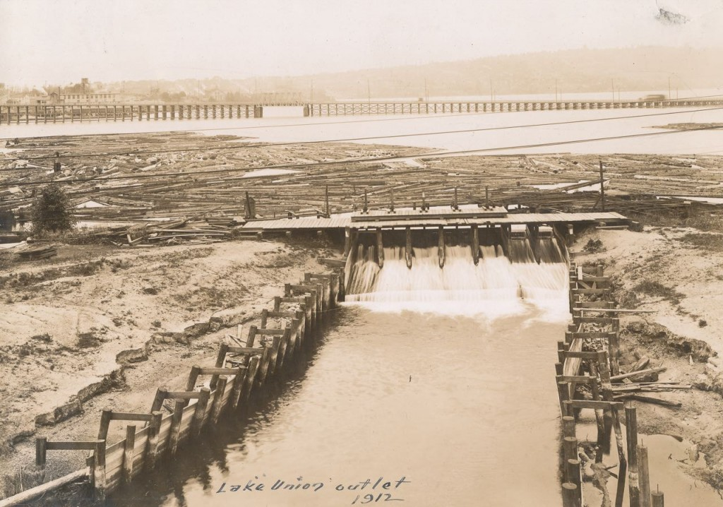 Sluice gates in Lake Union, water going into Fremont canal, image courtesy Army Corps of Engineers