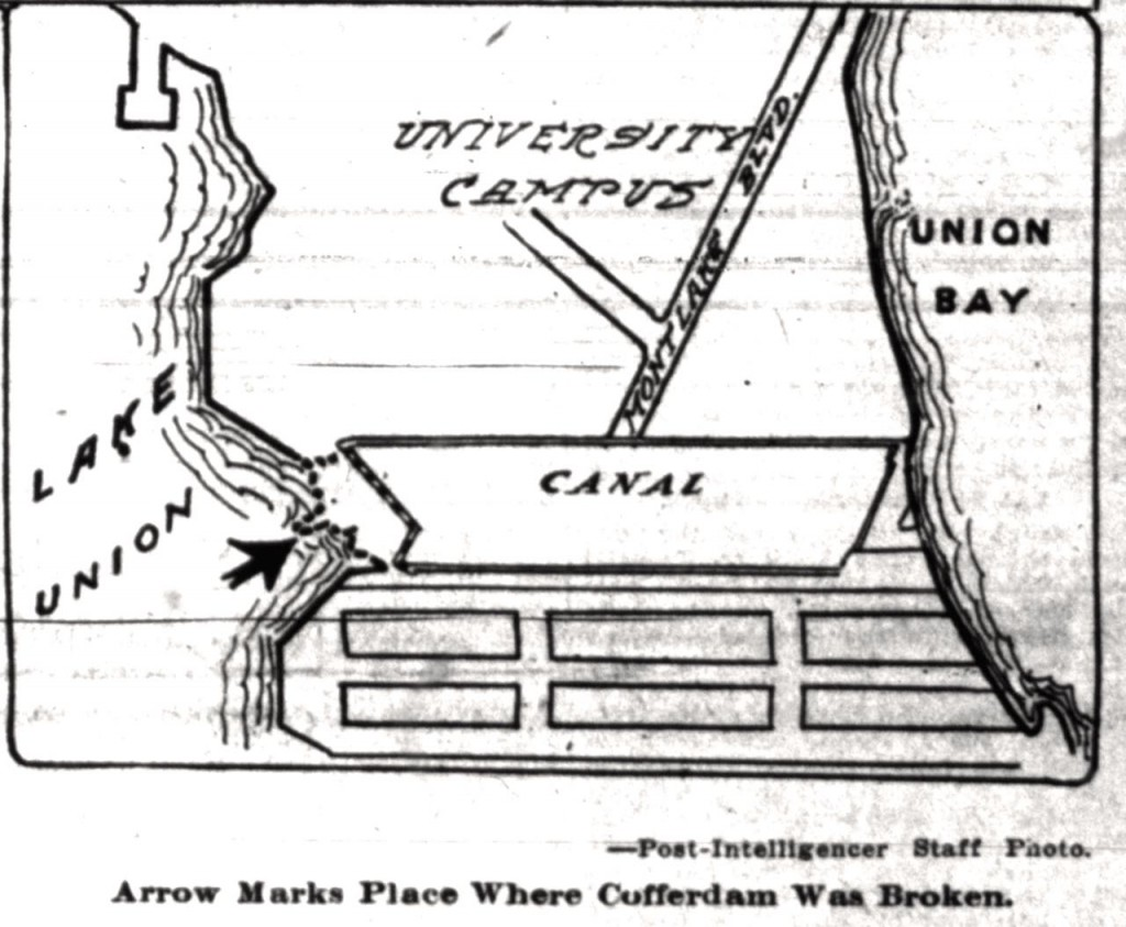 Location of cofferdam, from Seattle P-I, August 26, 1916
