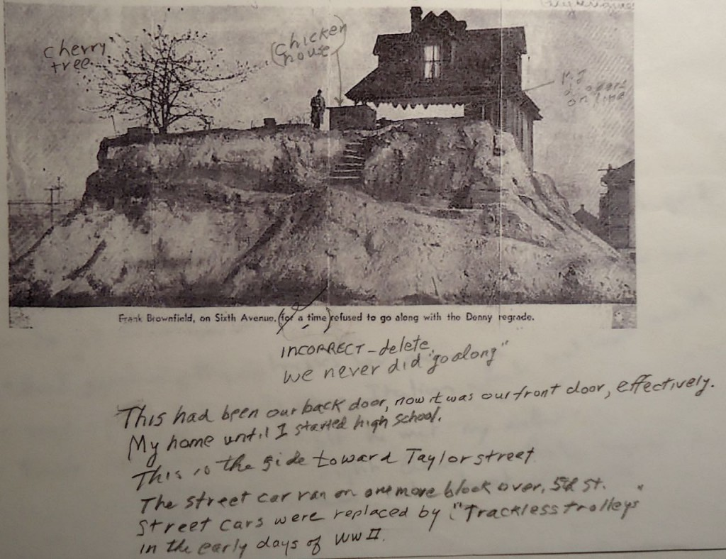 "Curt Brownfield's notes to a photograph that appeared in the Seattle Times in September 1964. There is no information about when the photo was taken. (The pencil comment next to the house says ""My diapers on line."")"