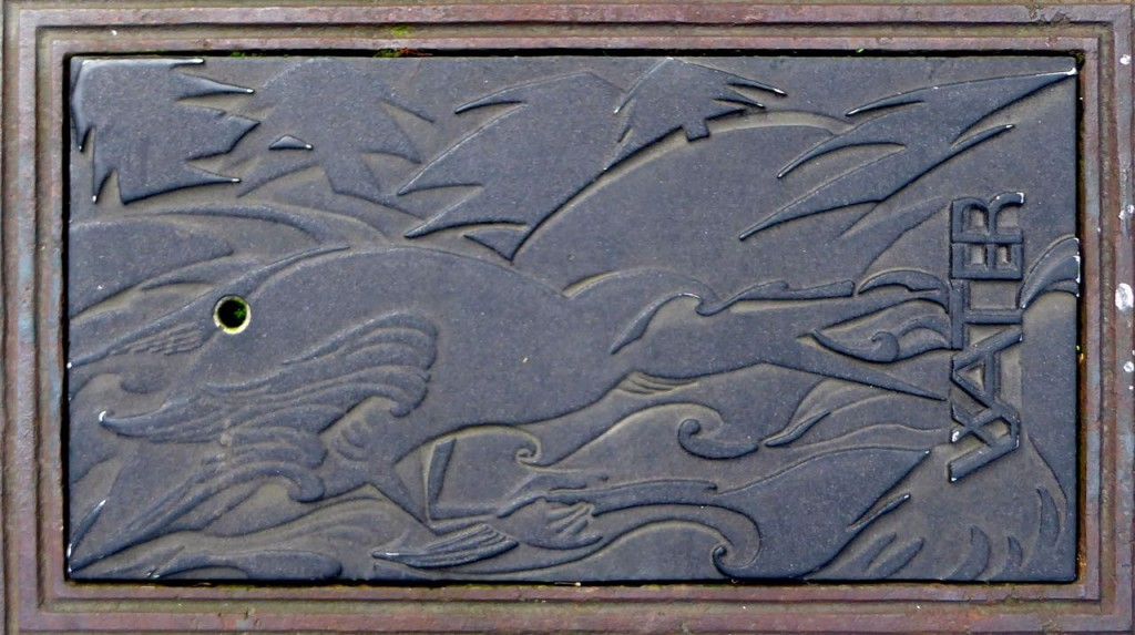 Stylized cormorant (?) on water meter covers