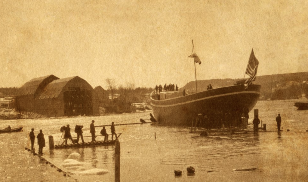 Peary's ship, the S.S. Roosevelt, launches from McKay & Dix Verona Island Shipbuilding Co. on March 23, 1905. BUCKSPORT HISTORICAL SOCIETY