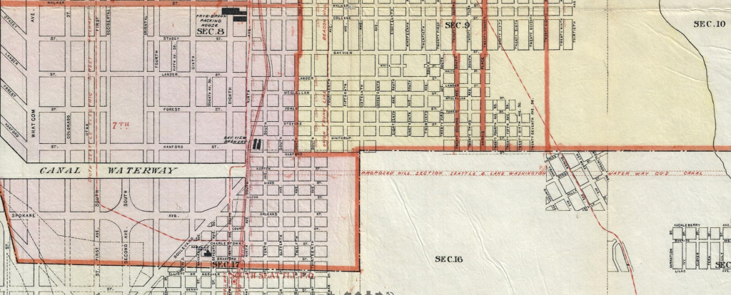 Detail of 1896 map showing canal cutting across Beacon Hill