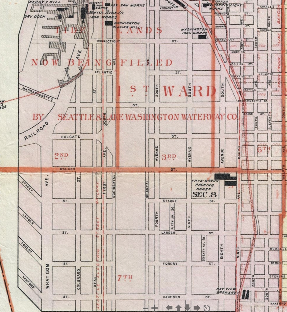 Detail of 1896 map showing tideflats filling.