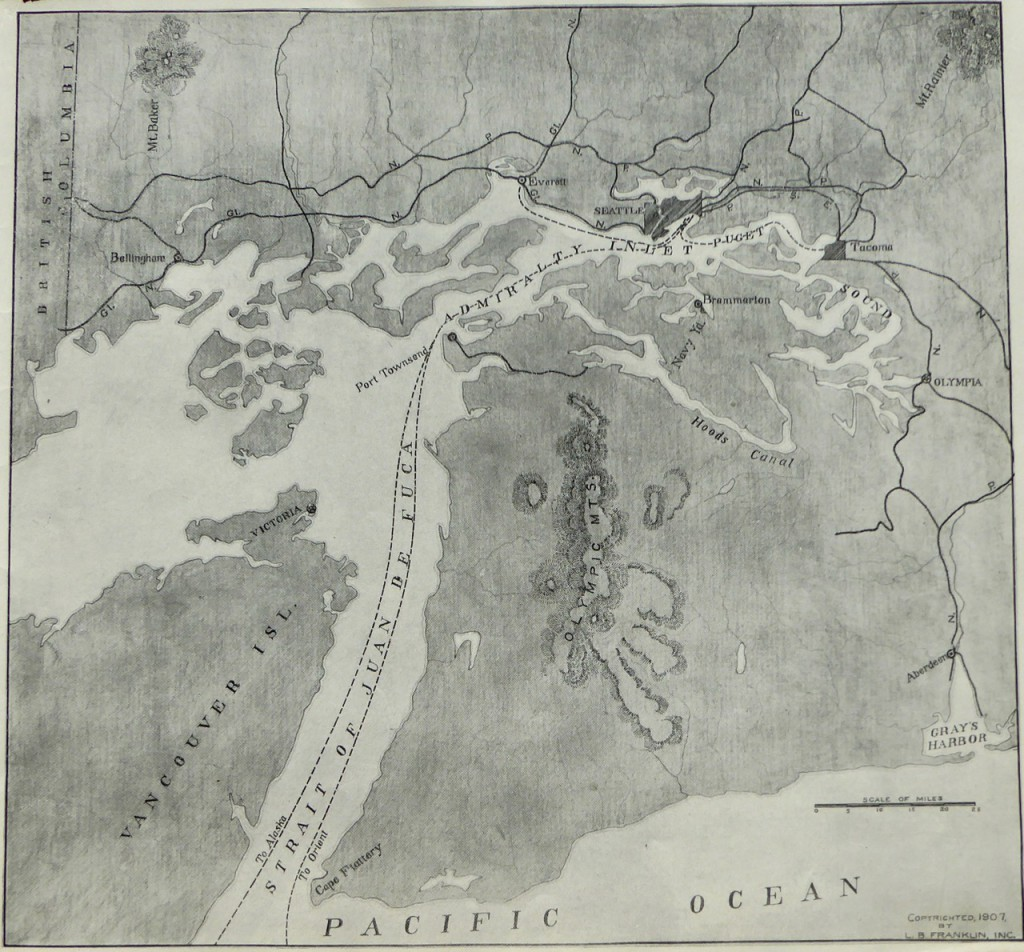 Puget Sound turned sideways with north to the left